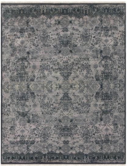 Transitional Wool 8x10 Black Grey Area Rug