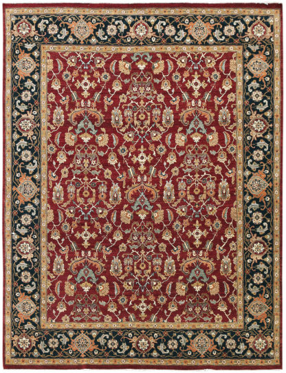 Hand Knotted Wool Jaipur 8x10 Burgundy Navy Area Rug