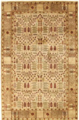 Hand Knotted Jaipur 5x8 Beige Wool Area Rug