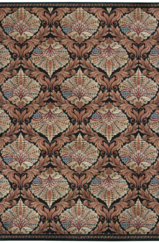 Machine Made Spanish Design 5x7 Black Brown Area Rug