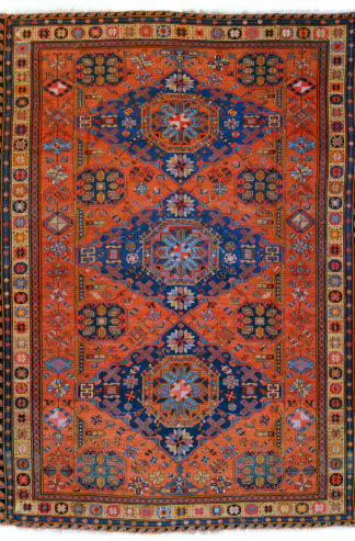 Antique Armenian Soumak Kilim 7x10 Red Blue Wool Area Rug