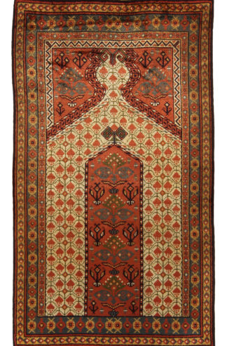 Antique Afghan Bashir 3x5 Silk Rust Prayer Rug