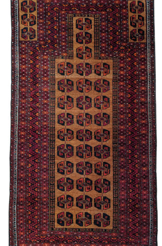 Fine Turkmen Prayer 3x5 Brown Wool Area Rug