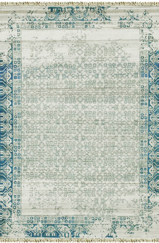 Hand Knotted Transitional 4x6 Ivory Blue Wool Silk Area Rug