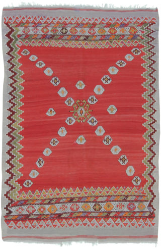 Antique Anatolian Kilim 4x6 Wool Area Rug