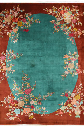 Vintage Art Deco Chinese 9x12 Area Rug