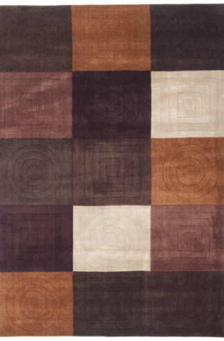 Panel Design Tufted 5x7 Brown Wool Area Rug