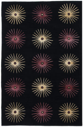 Hand Knotted Contemporary 5x8 Black Purple Area Rug