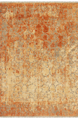 Textured Hand Knotted 8' x 10' Wool Silk Area Rug