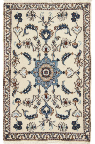 Persian Nain 3x5 Ivory Blue Wool Area Rug