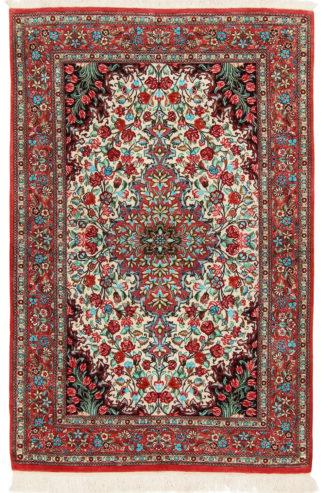 Persian Qum Silk 3x5 Red Blue Area Rug