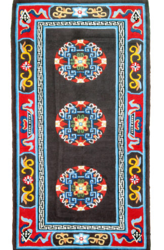 Hand Knotted Tibetan 3x5 Brown Red Area Rug