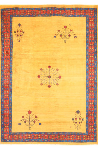 "Persian Gabbeh 7' x 9'5"" Yellow Area Rug"