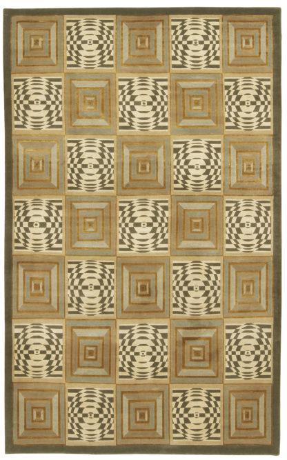 Hand Knotted Panel Tibetan 8×11 Wool Silk Area Rug