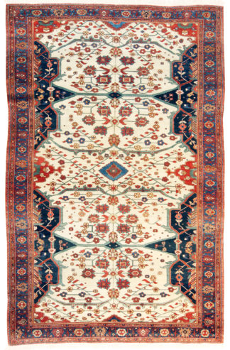 Antique Feraghan Sarouk 7x10 Red Blue Area Rug