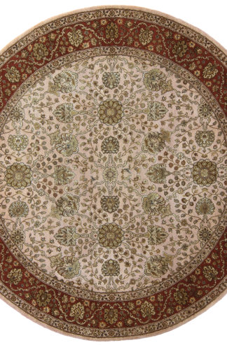 Tabriz Design India 5' Round Wool & Silk Area Rug