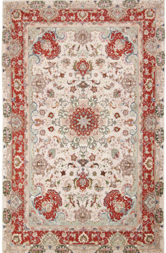 Persian Tabriz Wool & Silk 7'x10' Ivory Rust Area Rug
