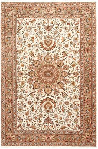 Extra Fine Persian Tabriz 7x10 Wool Silk Beige Ivory Area Rug