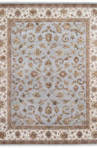 Hand Knotted Wool Silk Jaipur 8'x10′ Light Blue Ivory Area Rug