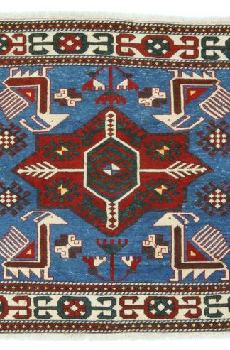 Semi-Antique Shirvan 3x3 Red Blue Area Rug
