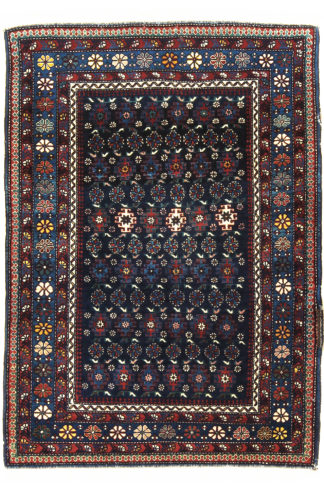 Fine Antique Shirvan 3x4 Blue Wool Area Rug