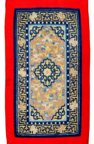 Antique Tibetan 2x4 Blue Ivory Wool Area Rug