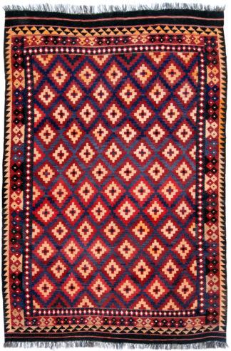 Maimana Kilim 7x10 Brown Wool Area Rug