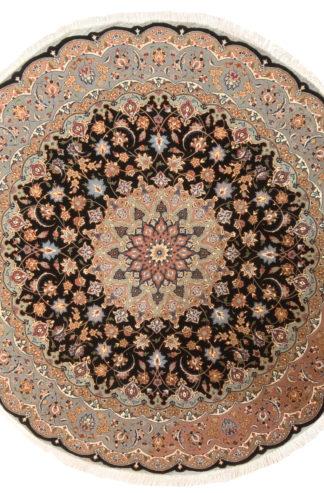 Persian Tabriz 7' Round Black Wool Silk Area Rug