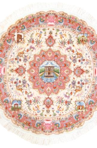 Persian Tabriz 5' Round Ivory Rose Area Rug