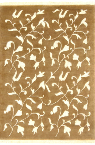 Hand Knotted 6x9 Beige Ivory Wool Silk Area Rug