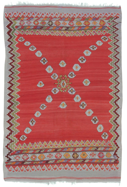 Antique Anatolian Kilim 4x6 Wool Area Rug