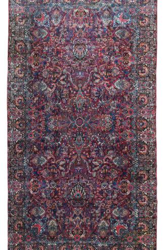 Antique Kermanshah 10x18 Blue Wool Area Rug