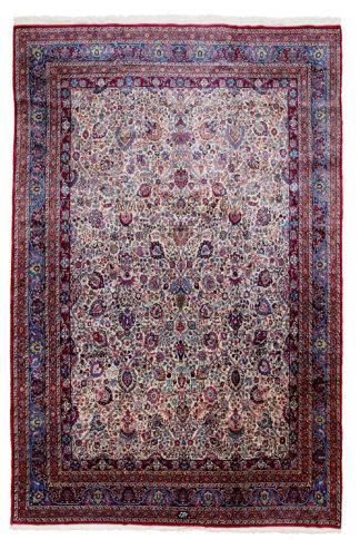 Makhmalbaf Antique Mashad 10x17 Blue Wool Area Rug