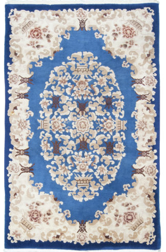Indo-Chinese Semi Antique 5x8 Blue Ivory Are Rug