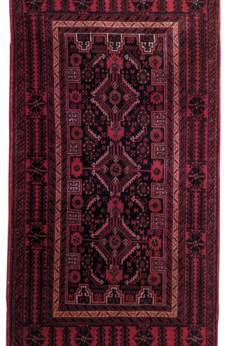 Persian Baluch Wool 3x6 Red Black Area Rug