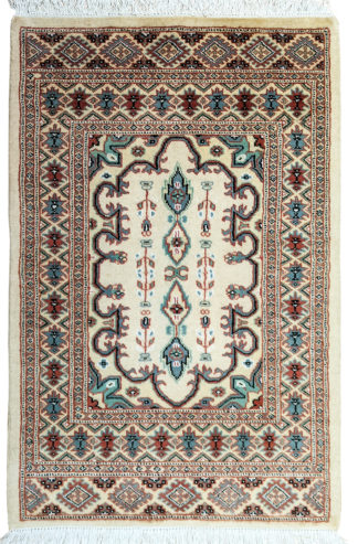 Pakistani Turkmen Design 3x5 Ivory Area Rug