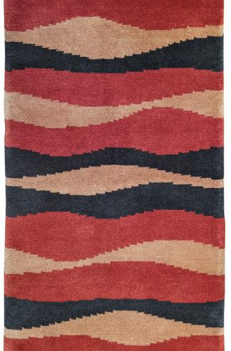 Tibetan Contemporary 3x5 Red Black Wool Area Rug
