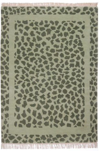Hand Knotted Contemporary 5x6 Green Wool Area Rug