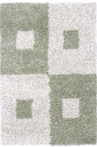 Modern Wool Shag 4x6 Green Ivory Area Rug