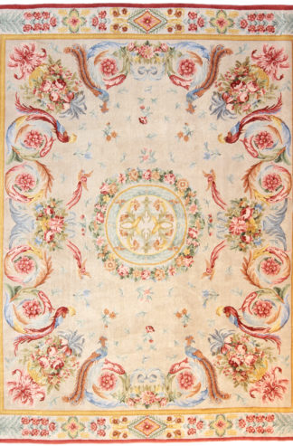 "Savonnerie Design 7'11"" x 10' Hand Knotted Wool Area Rug"