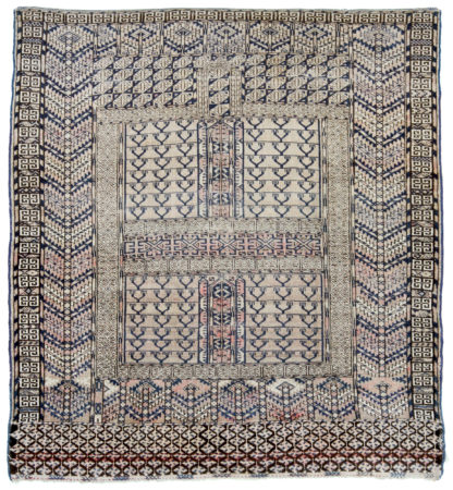 Turkmen Tekke Hachli Design 4x5 Blue Wool Area Rug