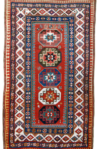 Antique Armenian Kazak 5x8 Red Blue Wool Area Rug