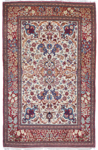 Antique Persian Tehran 4x7 Wine Ivory Area Rug