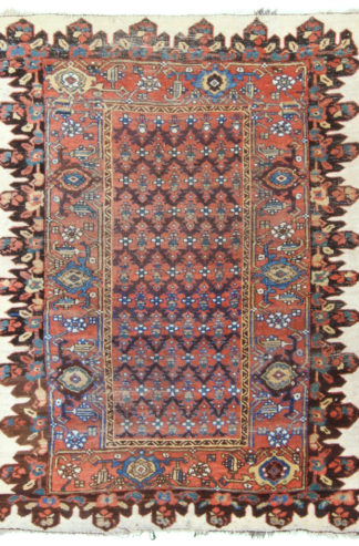 Antique Bidjar 4x6 Brown Orange Wool Area Rug