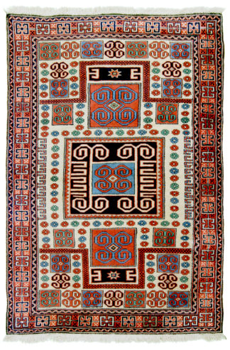 Antique Turkish Bergama 5x7 Red Blue Wool Area Rug