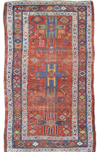 Semi-Antique Kurdish 4x7 Blue Red Area Rug