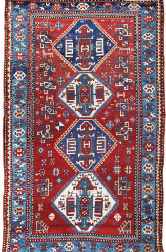 Antique Kazak 5x8 Red Blue Wool Area Rug