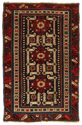 Antique Shirvan 4x6 Blue Wool Area Rug