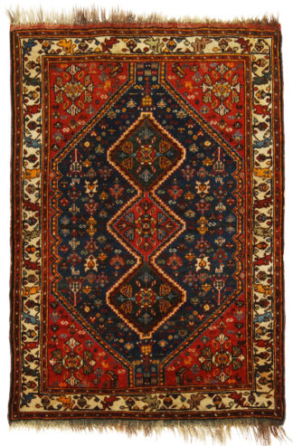 Antique Persian Khamseh 4x5 Red Blue Wool Area Rug