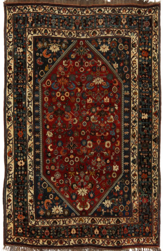 Antique Persian Khamseh 5x8 Red Blue Area Rug